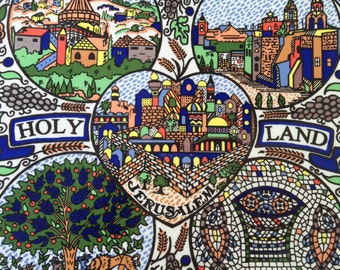 Colorful Bethlehem, Nazareth, Jerusalem ceramic plate made in the Holy Land, hand painted