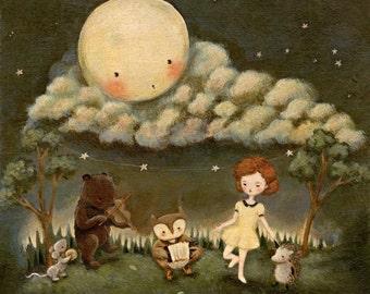 Children's Art - A Dance Party Under The Moon 5x5 / 7x7 - Animals, Owl, Bear, Mouse, Hedgehog, Girl, Night, Nursery, Baby, Cute, Blue, Stars