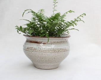 Red and White Ceramic Planter - Carved Rustic Planter- Handmade Pottery - Ready To Ship