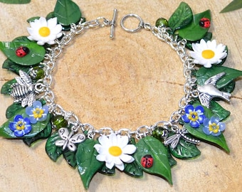 Summer Flowers Daisy and Forget-Me-Not Bracelet - Handmade Polymer Clay Jewellery