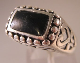 CFJ Art Nouveau Style Onyx Sterling Silver Ring Open Work Size 8 Vintage Ring Vintage Jewelry