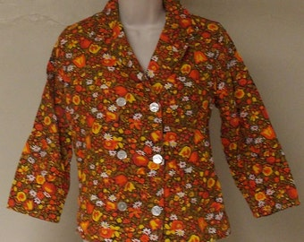 Vintage cotton bright 1960S oranges browns jacket top 3/4 sleeve double breasted