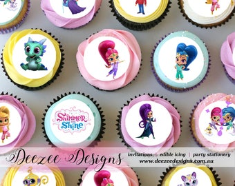 Shimmer & Shine Mini Edible Icing Cupcake Toppers - PRE-CUT - Sheet of 30 or 48
