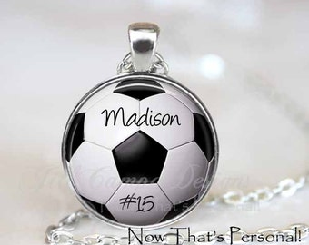 CUSTOM SOCCER PENDANT - custom soccer necklace - Your child's name and number - soccer key chain - soccer mom - soccer  necklace - Futball