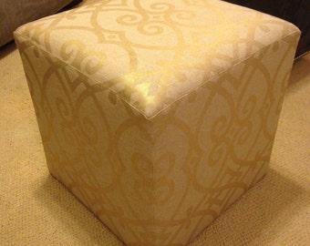 Metallic Gold Upholstered Ottoman