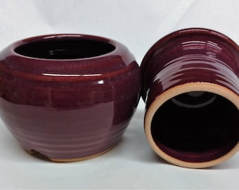 Ready To Ship   Burgundy French Butter Crock, Pottery French Butter keeper, Ceramic French Butter Dish