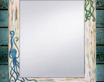 "Hand Painted Octopus Mirror, Beach Mirror, Beach Decor, Beach House Art 22x28"" or 30x36"" Available, Blue and green octopus mirror"
