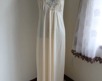 Vintage Pale Yellow Dark Cream Nightgown by French Maid, Long Nightie, Size Medium