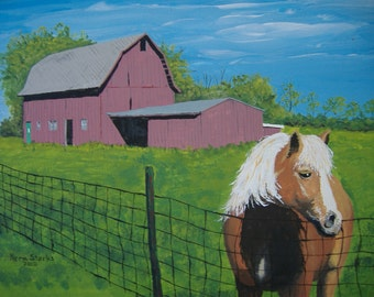 Barn art - Limited edition fine art print - Wisconsin barn with horse - 11 x 14 inches with matt