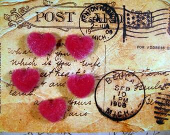 retro vintage scrapbooking decoration Tyrian pink fur heart appliques