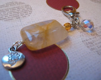 SEMI-Precious Citrine Stone and GROW tag -  Zipper Pulls or Key Ring or Rear-view Mirror Charm