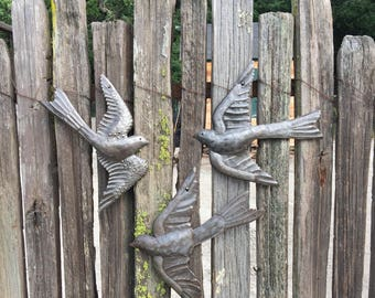 Metal Art Birds, Set of 3, Birds, Quality Recycled metal art from Haiti, Home and porch decor, artistic