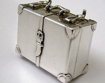 Vintage Solid Silver Detailed Trunk Valise Travel Case Pill Stash Box Hallmarked (8377)