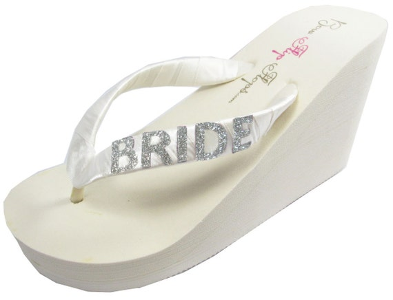 color Design Flip Flops Glitter White Ivory Bride and Silver Wedge own your heel qRXwaf