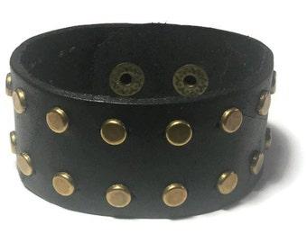 Studded Black Leather Cuff - Studded Leather Bracelet Cuff - Leather Bracelet - Studded Black Leather  Bracelet