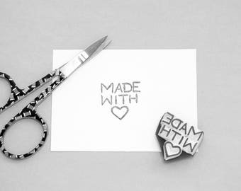 Made with heart love stamp