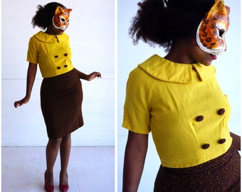 Vintage 60s Bright Yellow Wool Peter Pan Blouse and Matching Brown Tweed Skirt Two Piece Set   XS/Small