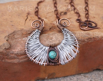 Oxidized Copper. Silver. Turquoise. Artisan. Harp. Necklace.