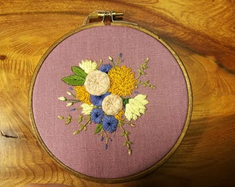 Handmade floral embroidery 6 inch hoop