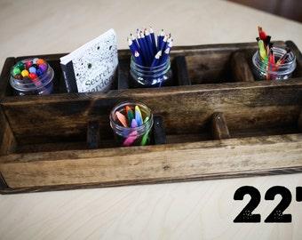 "22"" Rustic Wooden Craft Box, Storage Box, Rustic Box, Rustic Storage Box, Rustic Craft Box, Rustic Organization Box"
