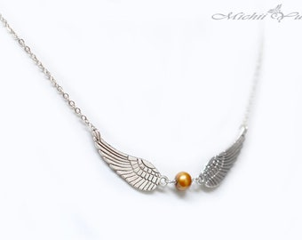 Harry Potter Inspired Snitch Wing Necklace - Silver - Freshwater Pearl
