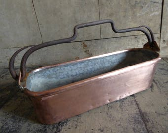 French, vintage copper fish pan, kettle, planter, jardiniere,