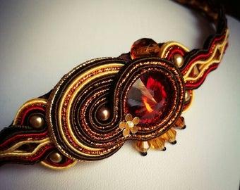 Brown gold handmade soutache necklace