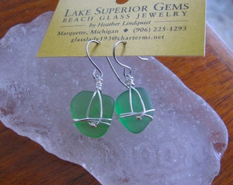 Sweet Green Lake Superior Beach Glass Earrings For Her