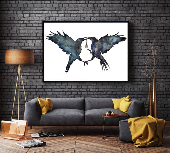 Magic Ravens | Framed poster | Shamanic crow | Elixir Potion | Watercolor galaxy | Spirit animal totem | Native American | ZuskaArt