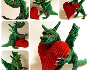 Crochet dragon, crochet fantasy, amigurumi dragon - Dragon of Love, Amigurumi Pattern, Fantasy Crochet Pattern, Stuffed dragon, Heart