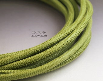 1 foot green Nappa leather cord 4mm round lizard pattern green leather cord 4 mm lizard printed leather genuine leather for bracelet