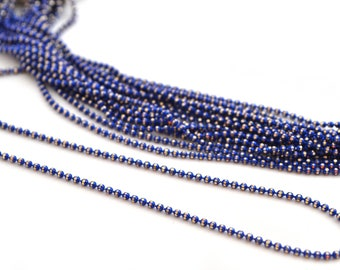 50cm chain indigo blue beads and gold 1.2 mm metal