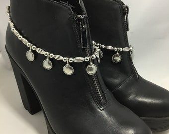 Silver metal with dangles boot straps / boot jewelry / shoe jewelry / shoe bracelets