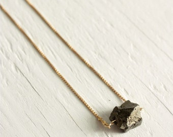Pyrite Necklace on 14kt Gold Filled Chain - Statement Necklace