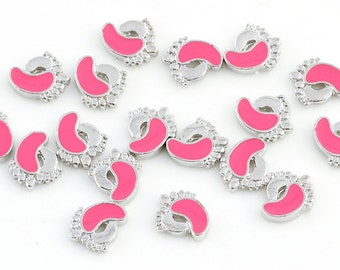 Foot floating Charms for Living Lockets, Glass Memory Lockets