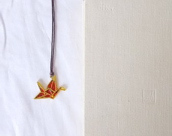 Paper Crane Japanese Origami Style Necklace Red Glitter w/ Brown Cotton Cord, Opus 86