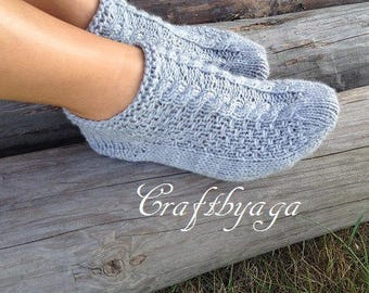 Hand knit wool slippers,Hand knit wool socks,Handmade socks,Hand knit slippers,Knitted Wool Socks,knitted wool slippers Wool socks for women