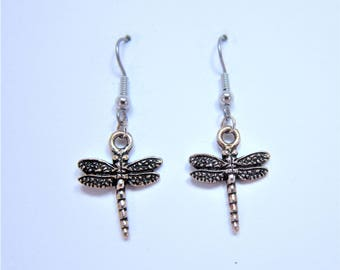 Charmed! Dragonfly earrings silver plate antique finish on hypoallergenic surgical steel hooks