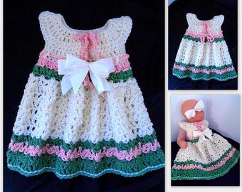 CROCHET PATTERN, Girl's dress, baby dress, easy crochet children's clothing, sundress or pinafore, Newborn to 4 Years,  # 775