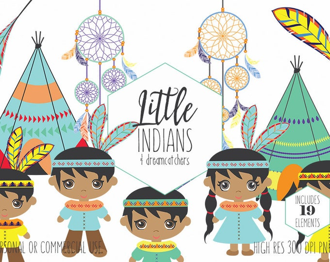 NATIVE AMERICAN INDIAN Clipart for Commercial Use Thanksgiving Clip Art Cute Boho Teepees Dreamcatchers Feather Tribal Digital Graphics