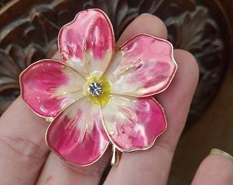 Pink Flower  brooch enamel gold tone glass effect