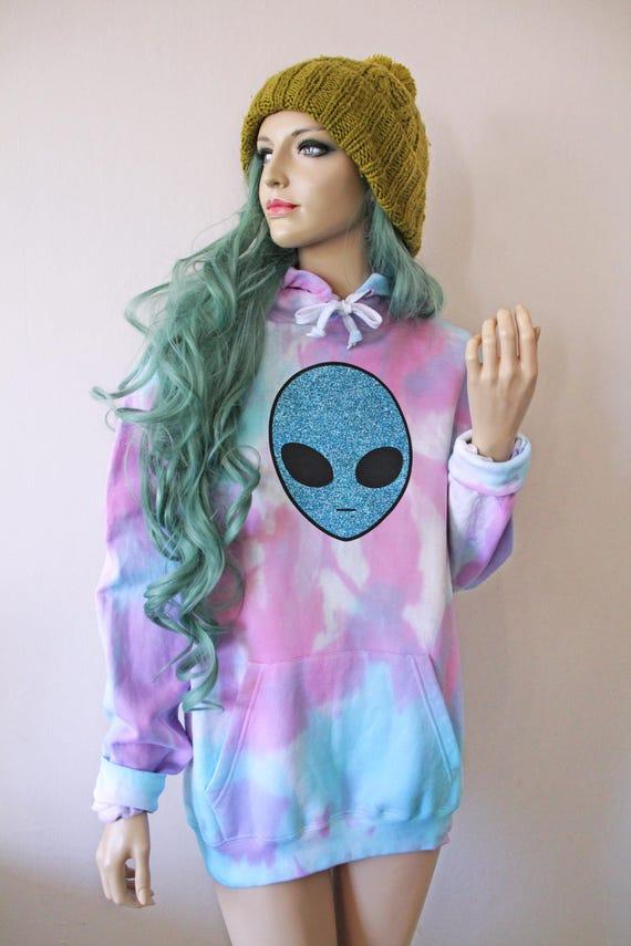 Alien Hooded Tie Dye Oversized Sweater Kawaii Goth Space