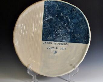 Personalized Wedding Platter, Handmade Ceramic Serving Dish