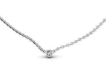 Tiny 14K White Gold Small Diamond Solitaire Necklace Diamond Pendant Layered Necklace