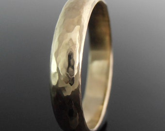 14k Yellow Gold Wedding Ring, Hammered Half Round 14k Gold Ring, Gold Wedding Band, Gold Wedding Ring, 4 x 1.4 mm, Polished Finish