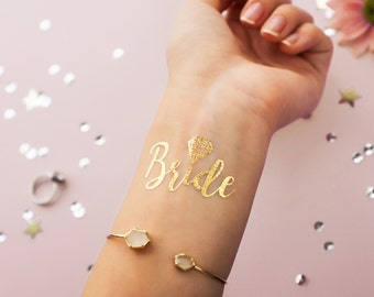 Bride! Metallic Gold Temporary Tattoo | Bachelorette Party Favor | Bridesmaid Wedding Flash Tattoo | Hen Bridal Party Gift