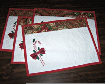 Quilted Candy Cane Placemats