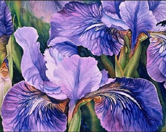 BUY 2 GET 1 Free! Irises Flowers Watercolor 631 Cross Stitch Pattern  Cross Stitch Chart Needlecraft PDF Format instant download 176121