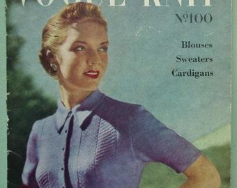 Vogue Knitting Patterns Vintage 1940s 1950s Vogue-Knit No. 100 Blouses Sweaters Cardigans women's tops 40s 50s original patterns UK edition