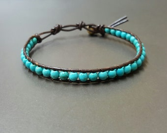 Blue Turquoise  Leather Bracelet